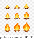 Set of camp fire sprites for animation. Vector cartoon illustration bonfire burning frames 43685891
