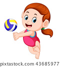 the girl plays the volley ball  43685977