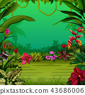 the exotic forest with the trees and the flowers 43686006