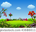 a beautiful garden view with a lot of leaves  43686011