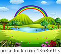 a colorfull garden with the beautiful rainbow 43686015