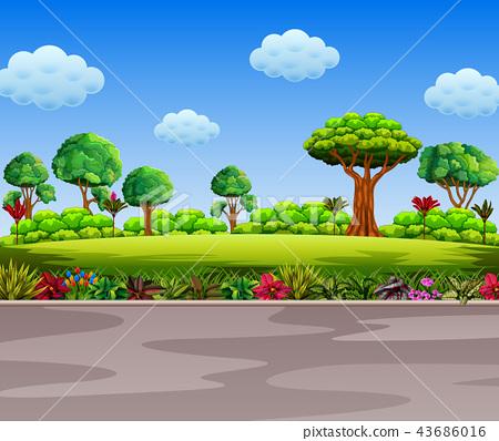 the beautiful garden beside the road 43686016