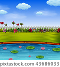 the beautiful garden with the blue lake 43686033