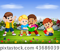 the group of the children read the book together 43686039