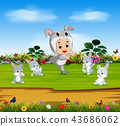 the cute boy wearing the rabbit costume  43686062
