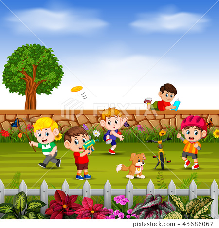 the boys do sport and play together in yard 43686067
