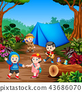 the students do camp in the middle of the forest 43686070