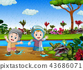 the happy children play with the water  43686071