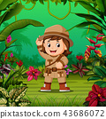 the young girl adventurer stand in the middle  43686072