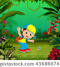 the cheerful boy is looking for a small snail 43686074