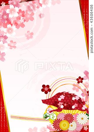 黃色櫻桃樹新年的背景 43686486