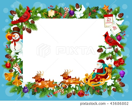Frame for Christmas greeting card with blank space 43686802