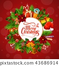 christmas, wreath, greeting 43686914