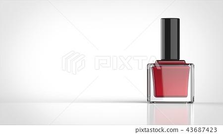 매니큐어 빨간색 흰색 배경 정면 왼쪽 복사 공간 43687423