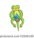 Cute gecko holding cupcake 43688186