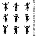 Happy people stick figure icon set 43689010