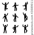 Happy people stick figure icon set 43689011