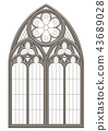 Medieval Gothic stained glass window 43689028