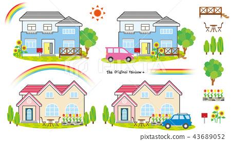 房子,汽车,花园,花卉和对象 43689052