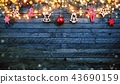 Christmas rustic background with wooden planks 43690159