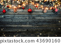 Christmas rustic background with wooden planks 43690160