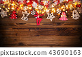 Christmas rustic background with wooden planks 43690163