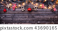 Christmas rustic background with wooden planks 43690165
