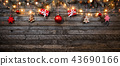 Christmas rustic background with wooden planks 43690166