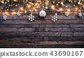 Christmas rustic background with wooden planks 43690167