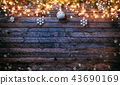 Christmas rustic background with wooden planks 43690169