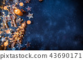 Christmas background with wooden decorations 43690171