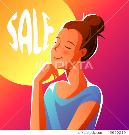 Cute girl dreaming about sales. 43690219