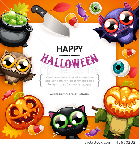 Happy Halloween Background with Copy Space Colorful 43690232