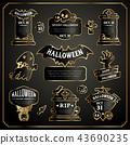 Halloween Design Labels Black and Gold Set 43690235