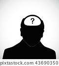 old man with question mark inside his head silhouette alzheimer disease dementia 43690350