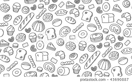 Seamless pattern background Bakery kids drawing 43690887