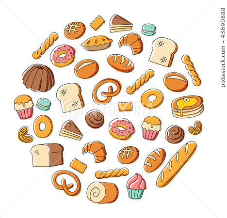 Bakery kids hand drawing set pattern background 43690888
