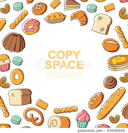 Bakery kids hand drawing set pattern background 43690889