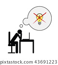 exhausted business man at his desk have no idea pictogram concept of stress, burnout, headache 43691223