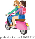 Friends on Motorbike 43691317