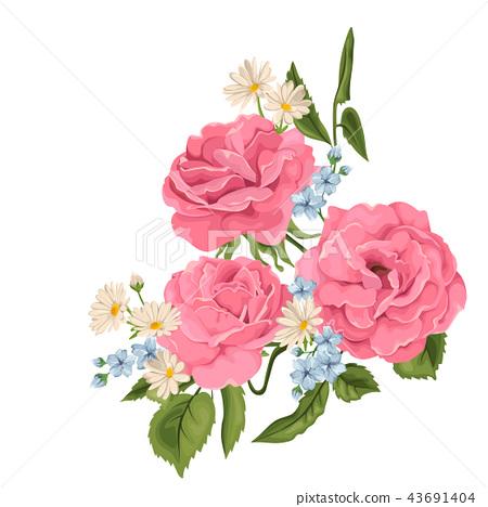 Flower pink rose, green leaves. Wedding concept.  43691404