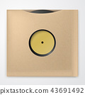 Realistic Vinyl Record with carton Cover. Retro design. Front view 43691492
