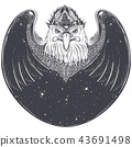 Sea eagle head with pagan runic symbols  43691498