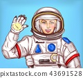 Young astronaut girl in a space suit waving her hand 43691528