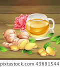 Ginger tea composition on wooden background 43691544