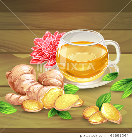 Ginger tea composition on wooden background 43691544