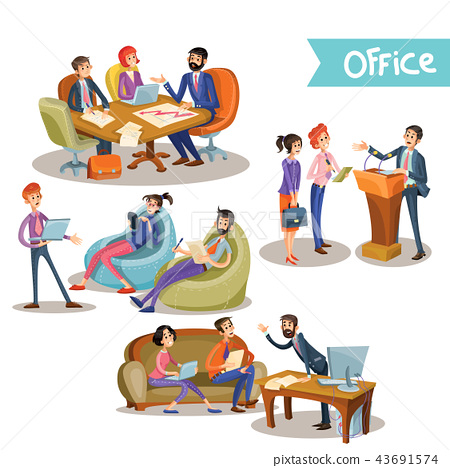 Businessman with subordinates holding talks. 43691574