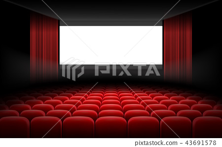 White cinema theatre screen with red curtains and chairs 43691578