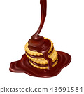 illustration of several sandwich-cookies with chocolate filling. 43691584
