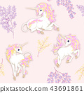 Seamless pattern, background with unicorn and vintage flowers. Vector illustration. 43691861
